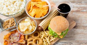 Hamburgers, chips, onion rings and other junk food