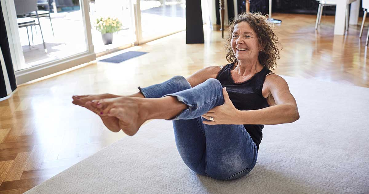 A woman doing Pilates.